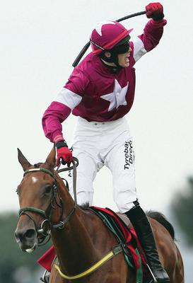 I feel good: Shane Shortall celebrates after winning the Galway Plate on Road To Riches yesterday