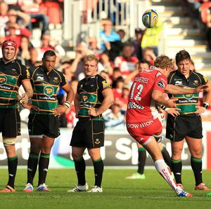 Gloucester's Billy Twelvetrees kicks a penalty with the last kick of the game to win today's Aviva Premiership match at Kingsholm.