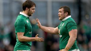 Iain Henderson, left, celebrates the crucial try as Ireland toppled England in Dublin in 2017 (Brian Lawless/PA)