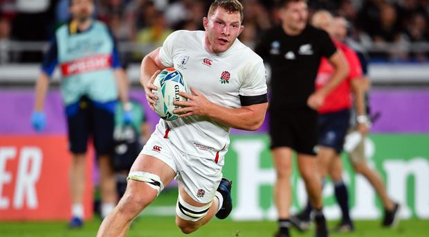 England flanker Sam Underhill in action during the World Cup semi-final against the All Blacks in Japan.