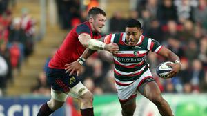 Manu Tuilagi, right, has made a successful return from injury for Leicester