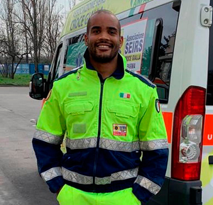 Italy rugby player Maxime Mbanda, who is volunteering driving ambulances during the coronavirus shutdown