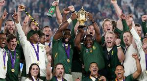 South Africa president Cyril Ramaphosa was present to join in the World Cup celebrations (PA)