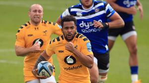 Wasps' Zach Kibirige in action against Bath.