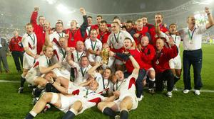 England celebrate winning the 2003 Rugby World Cup in Sydney (PA)
