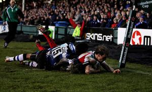 Moment of magic: Andrew Trimble crosses the line against Bath in 2010 after running from just outside his own '22'