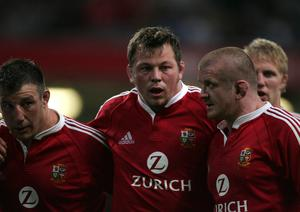 Old pals: Steve Thompson and Graham Rowntree on Lions duty