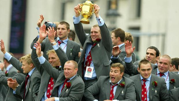 Mike Tindall (centre) won the World Cup in 2003 (Phil Noble/PA)