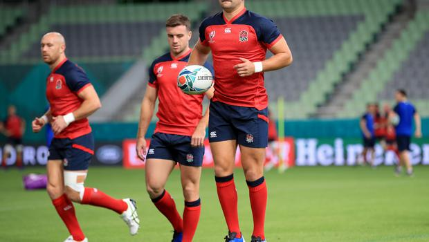 Ben Youngs tests out the humidity during training at Kobe Misaki Stadium (Adam Davy/PA)