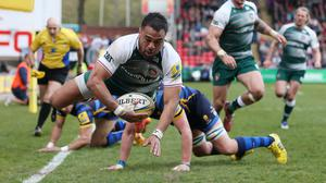 Leicester's Telusa Veainu scored their third try against Worcester