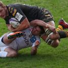 Joe Launchbury, pictured in action during the Challenge Cup clash with Bourdeau-Begles, where he picked up a knee injury that has ruled him out of England's Six Nations opener against France.