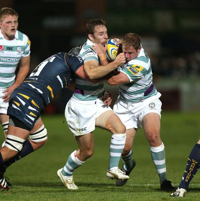 London Irish's Tomas O'Leary, second right, faces a disciplinary hearing after receiving a red card at the weekend