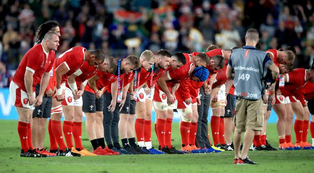 Wales players bow towards their fans after the 2019 Rugby World Cup semi-final loss to South Africa (Adam Davy/PA)