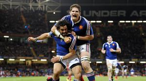 Pascal Pape, right, was among the tryscorers in France's win over Fiji