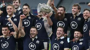 Scotland players with the Calcutta Cup