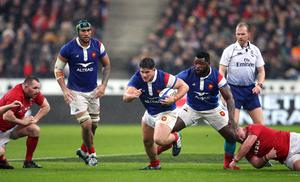 Julien Marchand, centre, is one of a number of France players to test positive for coronavirus (Adam Davy/PA)