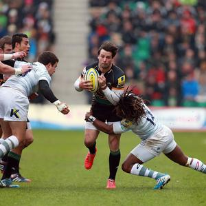 Northampton's Ben Foden is tackled by London Irish's Marland Yarde during the Aviva Premiership match at Franklins Gardens, Northampton.