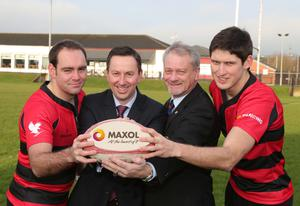 New deal: Maxol has announced a new two-year deal with Carrick Rugby Club. Pictured (from left to right) are club captain Jonny Cullen, Brian Donaldson, Maxol Group General Manager, Carrick President Bill Crymble and player Curtis Rea