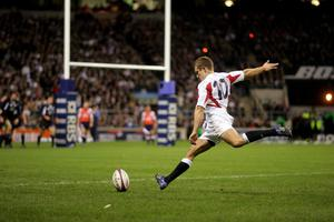 Jonny Wilkinson converts Jason Robinson's second try during the RBS 6 Nations win over Scotland. (David Davies/PA)