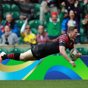 Chris Ashton goes over to score Saracens' first try