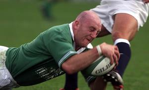 Ireland captain Keith Wood scores a try in the delayed 2001 Six Nations game against England (Gareth Copley/PA)