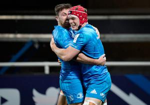 Cap fits: Leinster's Josh van der Flier celebrates bagging a try in his side's European victory over Montpellier