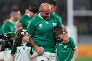 Saying goodbye: Rory Best with daughter Penny and son Ben after Ireland's elimination at the 2019 World Cup in Japan