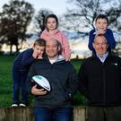 Family matters: Rory Best is pictured with his children Ben (9), Penny (7) and Richie (4) alongside their grandfather John. The former Ireland and Ulster captain launched Specsavers Audiologists' Grandparent of the Year 2019 Award