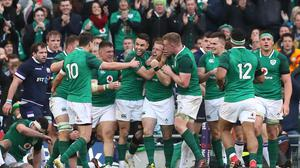 Ireland celebrate Sean Cronin's bonus-point clinching try against Scotland