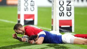 Wales' George North (left) celebrates scoring his side's second try of the game (David Davies/PA)