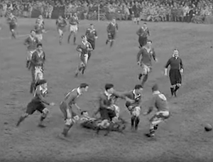 Hot battle: Ireland and Wales clash at Ravenhill in 1939