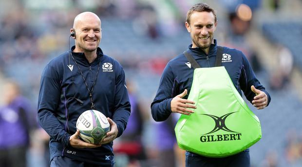 Mike Blair (right) has revealed Scotland coach Gregor Townsend has ordered his players to train with a ball soaked in shampoo as they get ready for action in Japan (Graham Stuart/PA)
