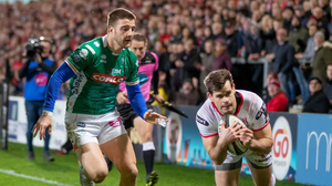 Over the line: Louis Ludik scores against Benetton last season, now Ulster face them in this season's opening game