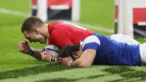 George North, pictured, celebrates scoring his first try against France in Paris (David Davies/PA)