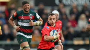 On run: Michael Lowry charges ahead against Leicester in the Champions Cup last year