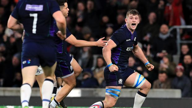 Magnus Bradbury, pictured celebrating his try in last year's Six Nations match against England, has won a Scotland recall for this year's clash at Murrayfield.