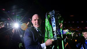 Ireland captain Paul O'Connell with the RBS 6 Nations trophy at Murrayfield
