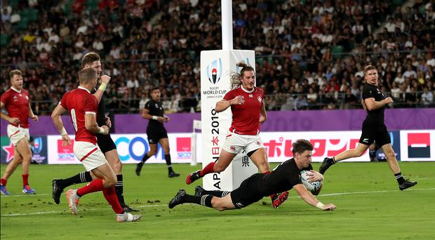Beauden Barrett joined his two brothers in scoring against Canada (David Davies/PA)