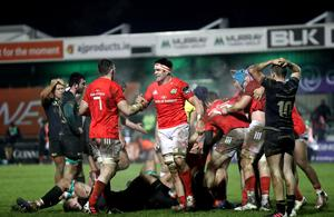 Final joy: Munster's Peter O'Mahony and Billy Holland celebrate at the final whistle