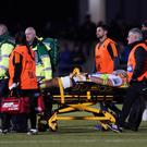 Michael Fatialofa being carried from the field at Saracens after suffering his neck injury (Tess Derry/PA)