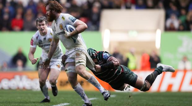Jannes Kirsten marches through for Exeter (David Davies/PA)