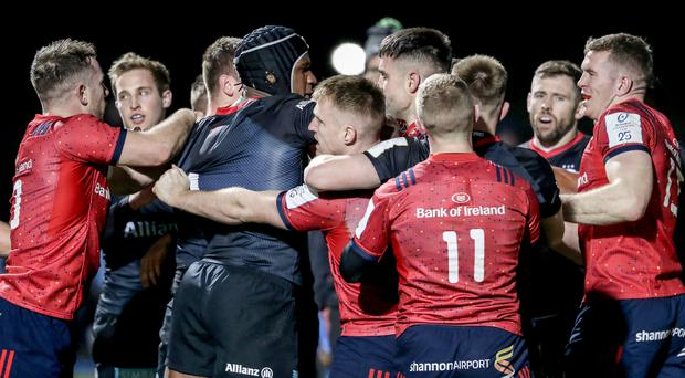 Seeing red: Tempers fray at the end of the clash between Saracens and Munster