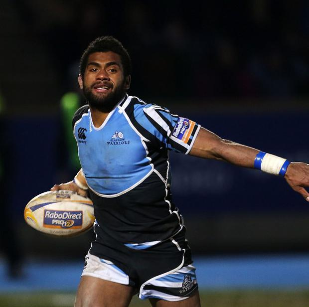 Glasgow Warrior's Nikola Matawalu celebrates the winning try during the RaboDirect PRO12 League match at Scotstoun Stadium, Glasgow. PRESS ASSOCIATION Photo. Picture date: Friday February 22, 2013. See PA story RUGBYU Glasgow. Photo credit should read: Lynne Cameron/PA Wire.