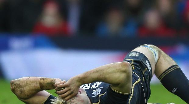 Richie Gray was stretchered off during Scotland's clash against Wales on Saturday
