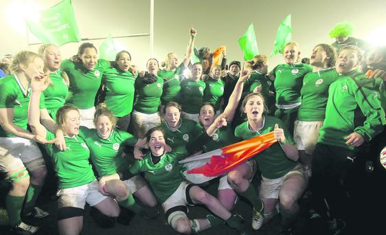 Ireland women's rugby team get the party started after their magnificent Triple Crown success