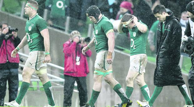 Ireland players leave the Aviva Stadium pitch after Saturday's game against France knowing they had let victory slip
