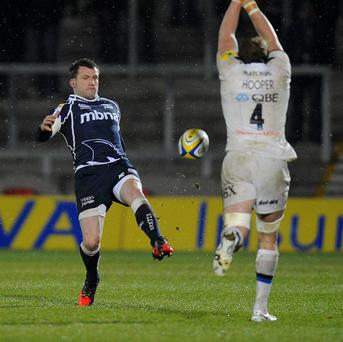 Mark Cueto, left, scored a late try as Sale edged Bath