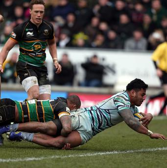 Manu Tuilagi scored two tries for the impressive Tigers