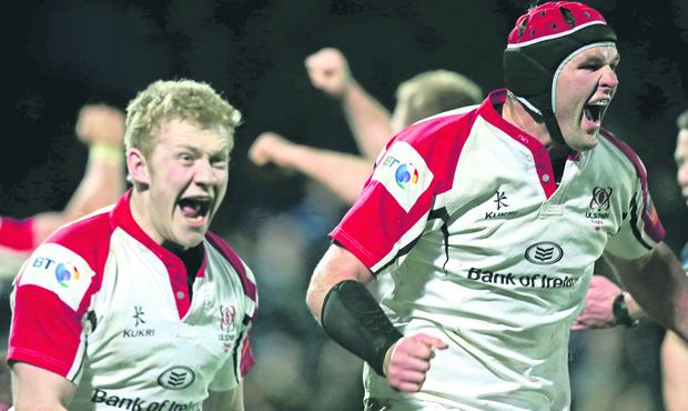 Ulster's Johann Muller and Stuart Olding celebrate the final whistle Ulster's win over Leinster, their first in Dublin since 1999