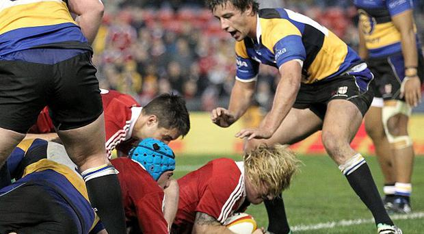 Richard Hibbard, centre, scored the Lions' fifth try against the Combined Country XV